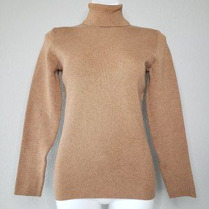 Orvis | Ribbed Camel Brown Turtleneck Sweater M